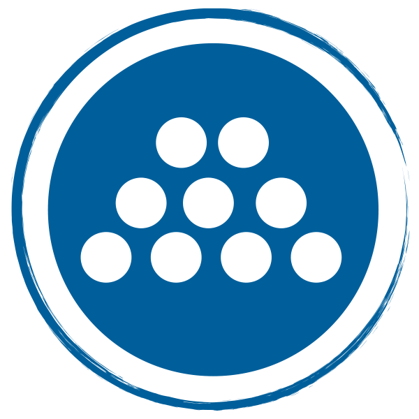 blue circle with stacked circles