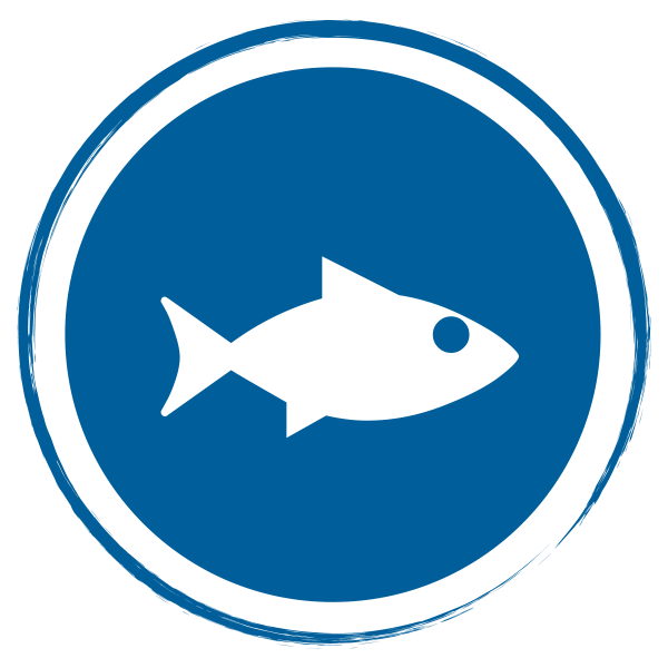 blue circle with fish